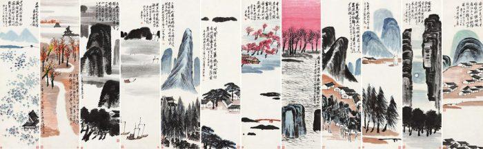 Qi-Baishi-Twelve-Landscape-Screens-record-di-arte-asiatica-di-tutti-i-tempi